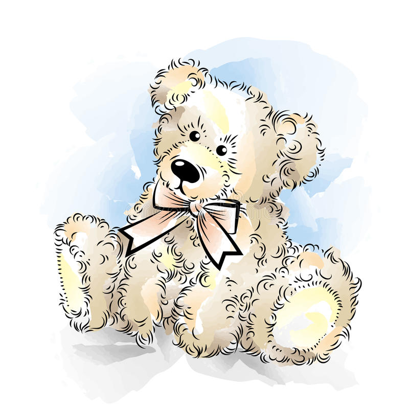 Drawing Teddy Bear with bow. Color vector illustration vector illustration