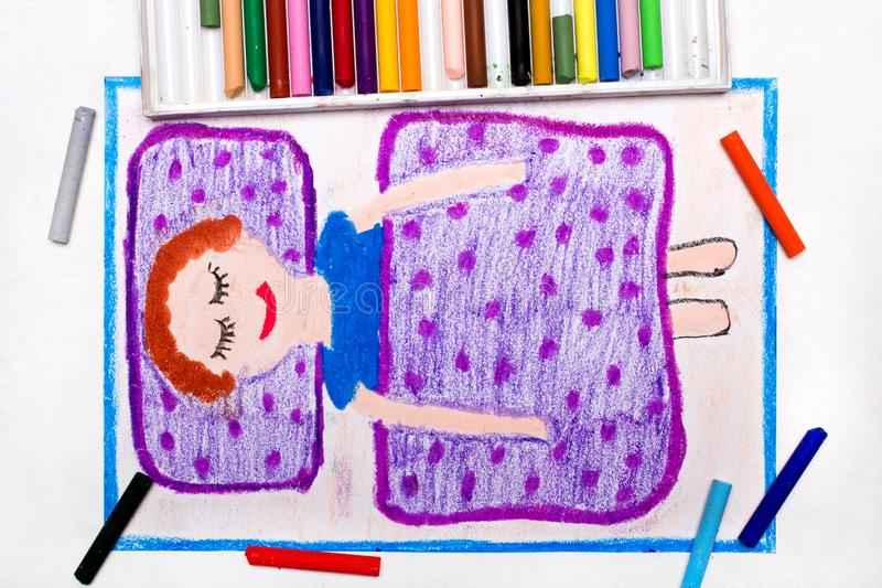 Drawing: Time to sleep. A smiling boy is sleeping in a bed stock illustration