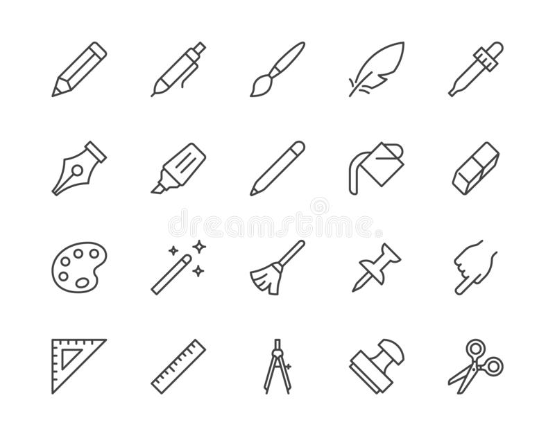 Drawing tools flat line icons set. Pen, pencil, paintbrush, dropper, stamp, smudge, paint bucket, vector illustrations. Outline minimal signs for web interface royalty free illustration