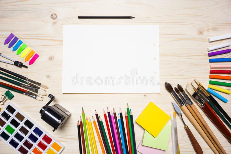 Drawing tools and paper stock image image of empty for Draw tool free