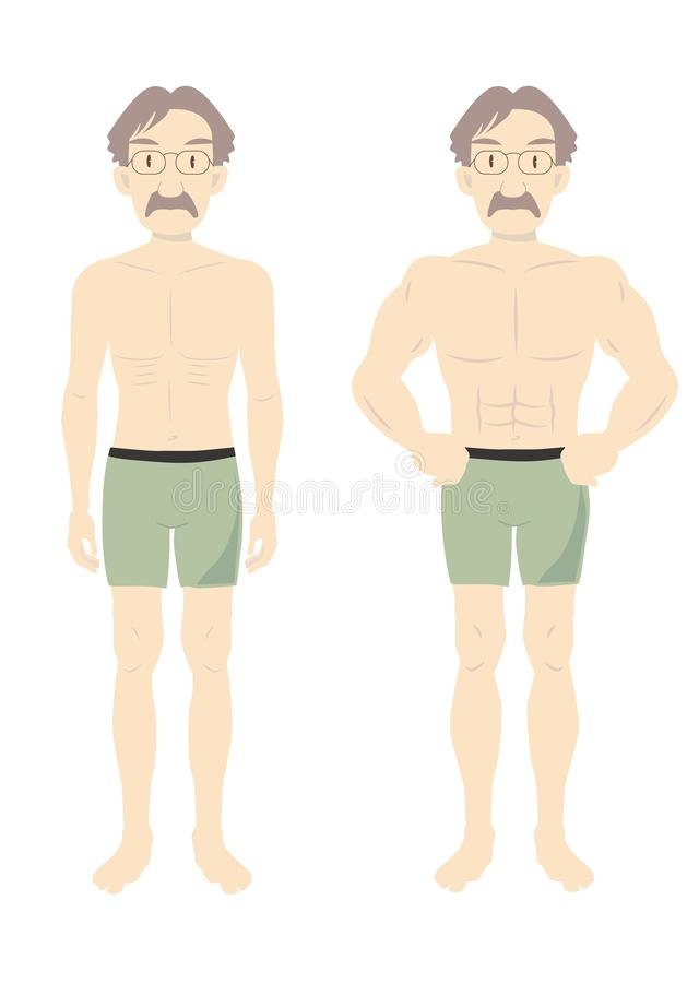 Men`s Beauty muscle body middle-B stock illustration