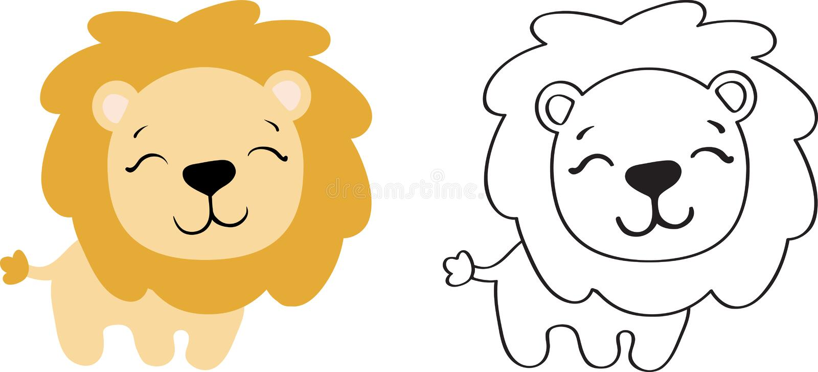 Drawing of a toy lion royalty free illustration