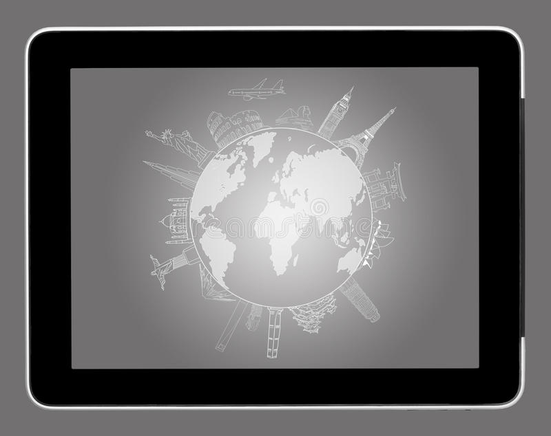 drawing travel around the world on tablet pc