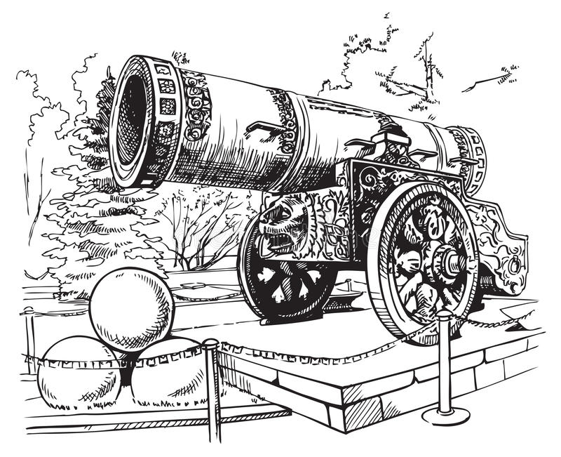 Drawing Tsar Cannon Moscow royalty free illustration