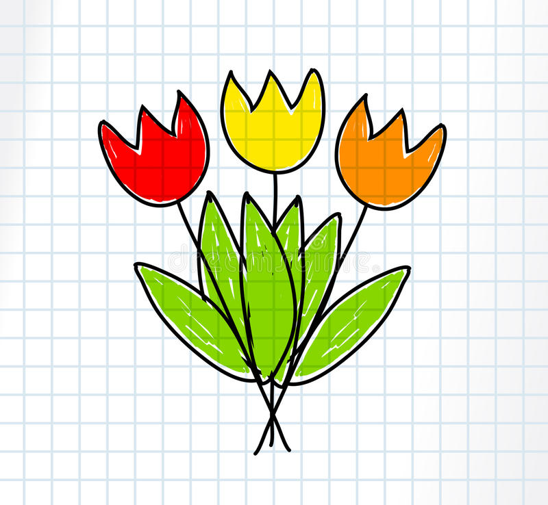 Drawing Of Tulips Royalty Free Stock Image