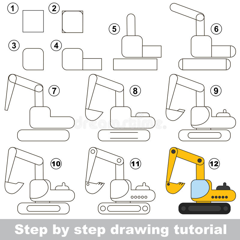 Steps For Excavators : Drawing tutorial game for excavator stock vector