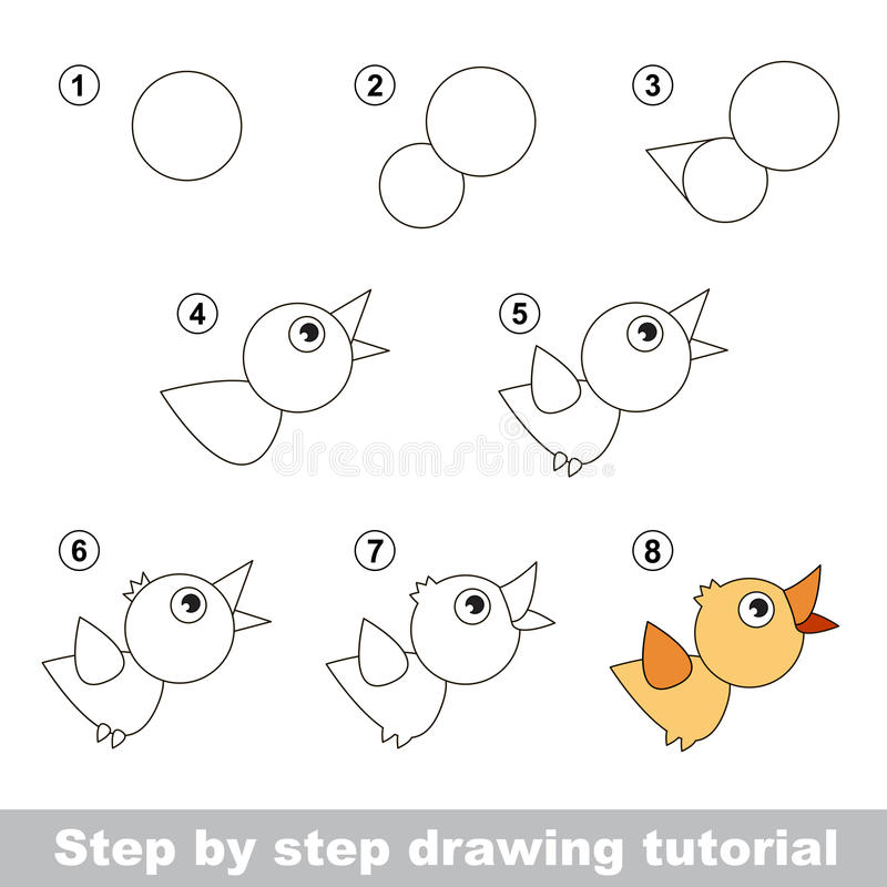 Free Drawing Tutorial. How To Draw A Bird Stock Image - 65467151