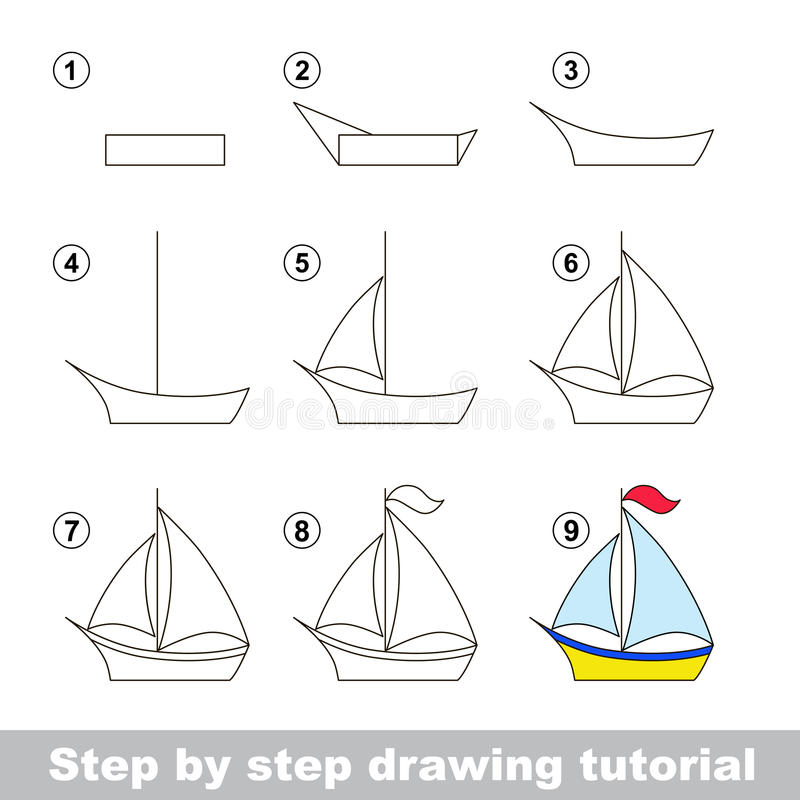 Drawing tutorial. How to draw a Boat royalty free illustration