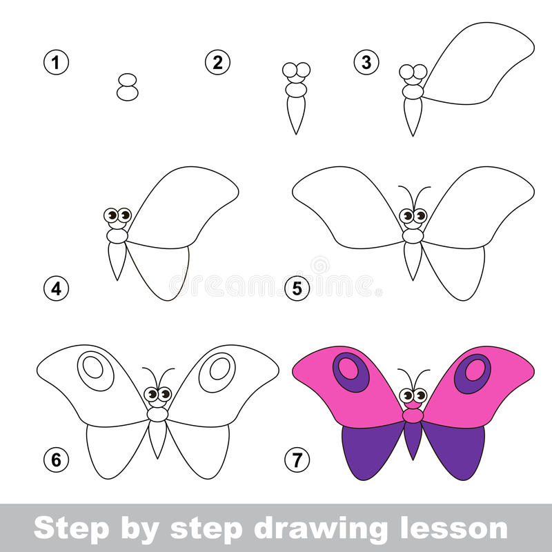 Download drawing tutorial how to draw a butterfly stock vector illustration of contour