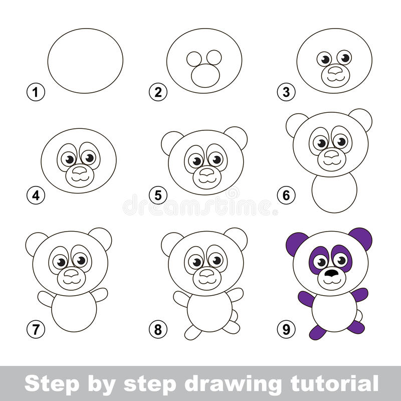 Download drawing tutorial how to draw a panda stock vector illustration of page