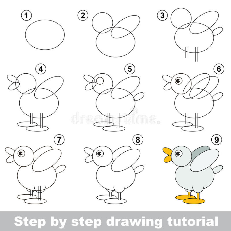 Drawing tutorial. stock illustration