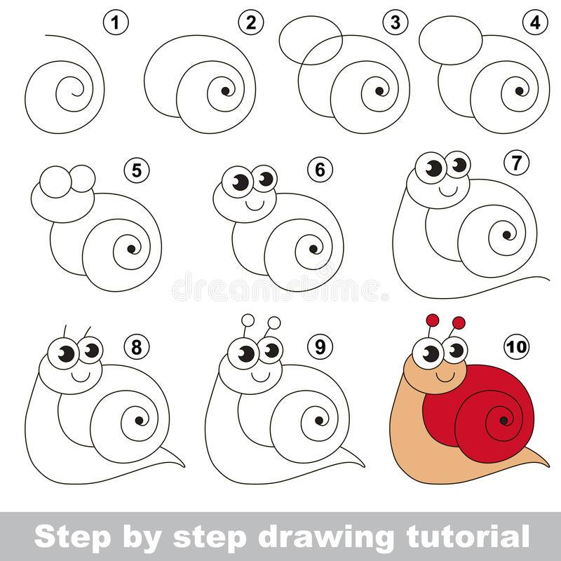 Drawing tutorial. Red snail. vector illustration