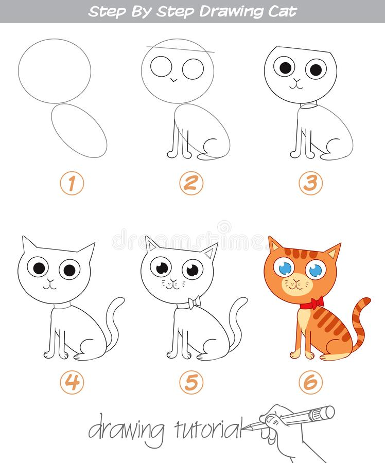 Drawing tutorial. Step by step drawing Cat. Easy to drawing Cat for Children. Funny cartoon character. Vector illustration royalty free illustration