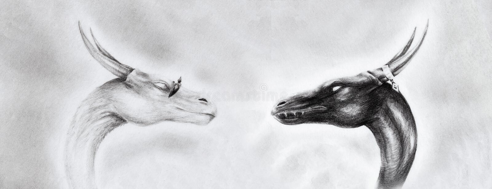 Drawing of two dragon heads on papier with abstract background. royalty free illustration