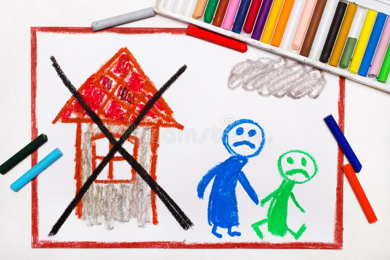 drawing: Two sad people leave their home. The problem of homelessness, eviction or moving out stock illustration