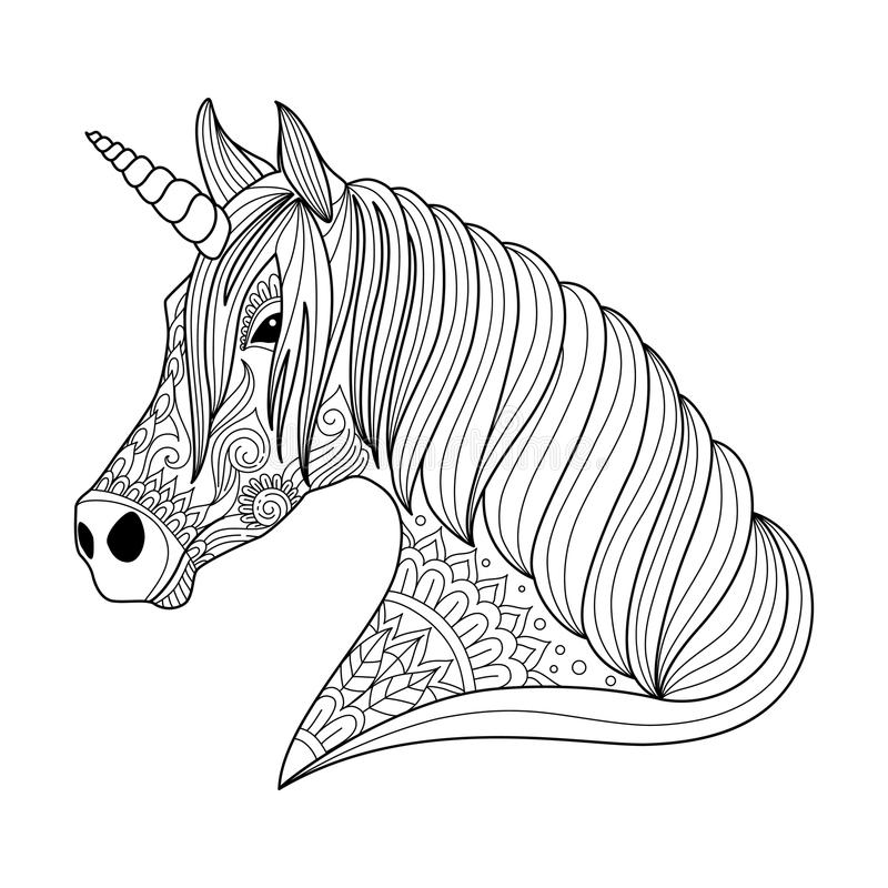 Download Drawing Unicorn Zentangle Style For Adult And Children Coloring Book Tattoo Shirt Design