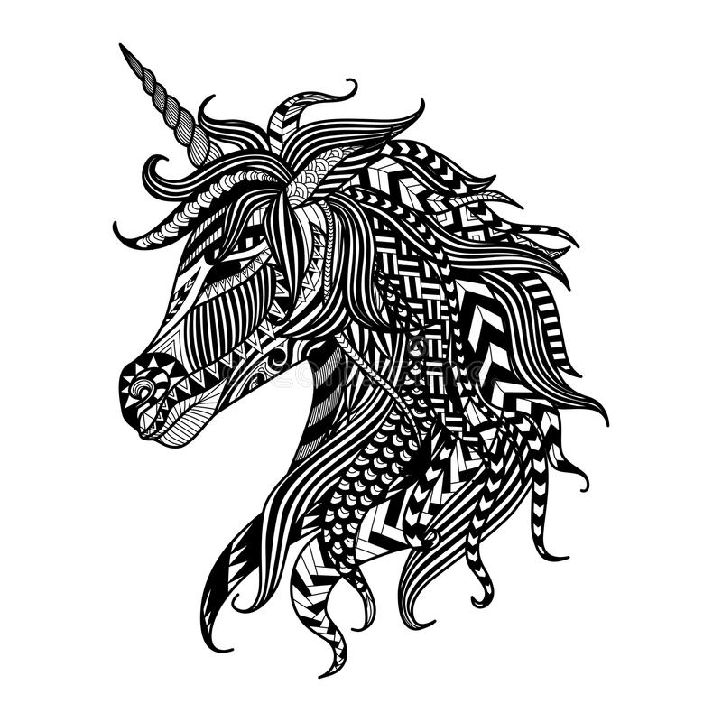 Drawing unicorn zentangle style for coloring book, tattoo, shirt design, logo, sign stock illustration
