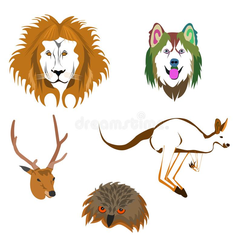 Drawing of various animal heads on white background vector illustration