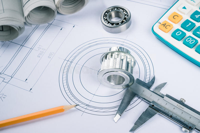 Drawing and various details. Construction drawings slide caliper roller bearings on blueprint architecture and building concept stock photos