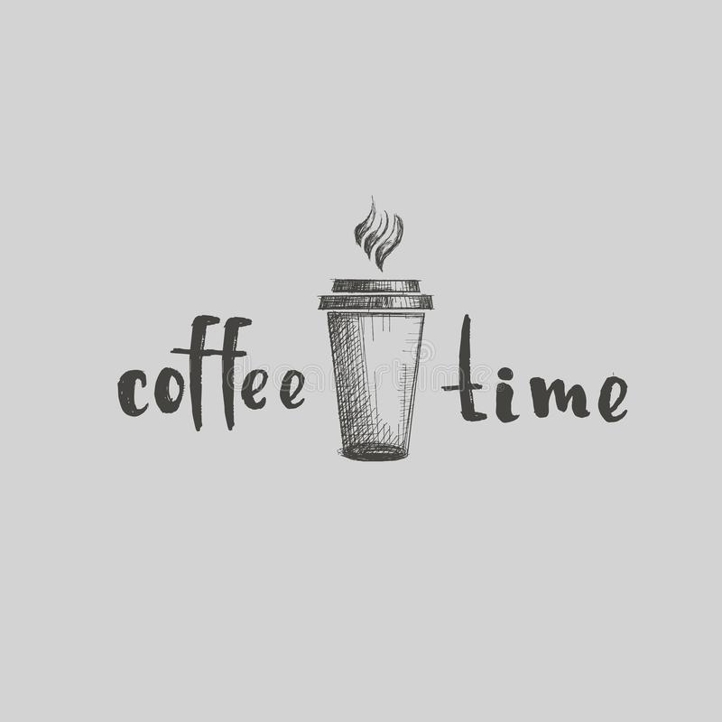 Drawing vector coffee cafe drink drinks restaurant logo cappuccino latte linear word calligraphy black on light background vector illustration