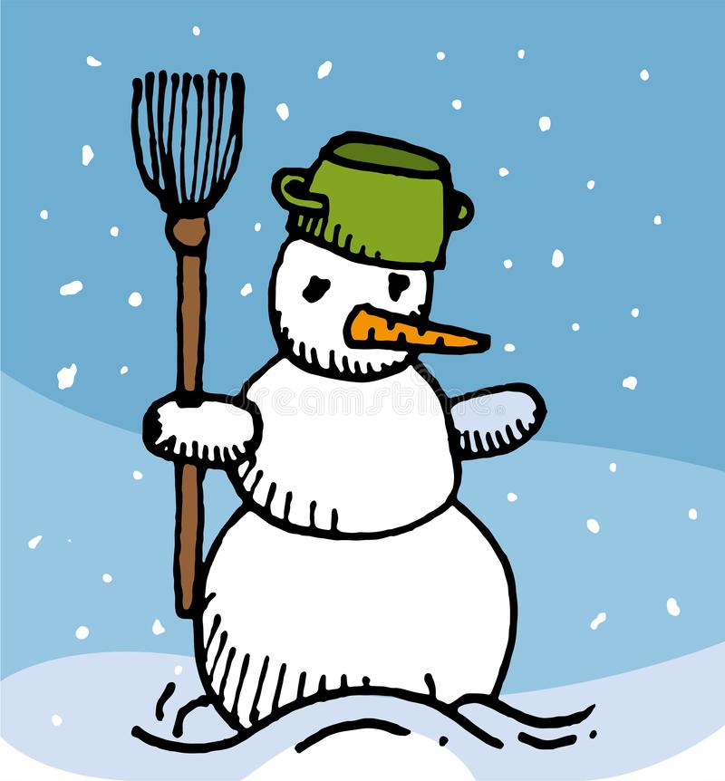 Drawing vector of snowy Snowman stock photo