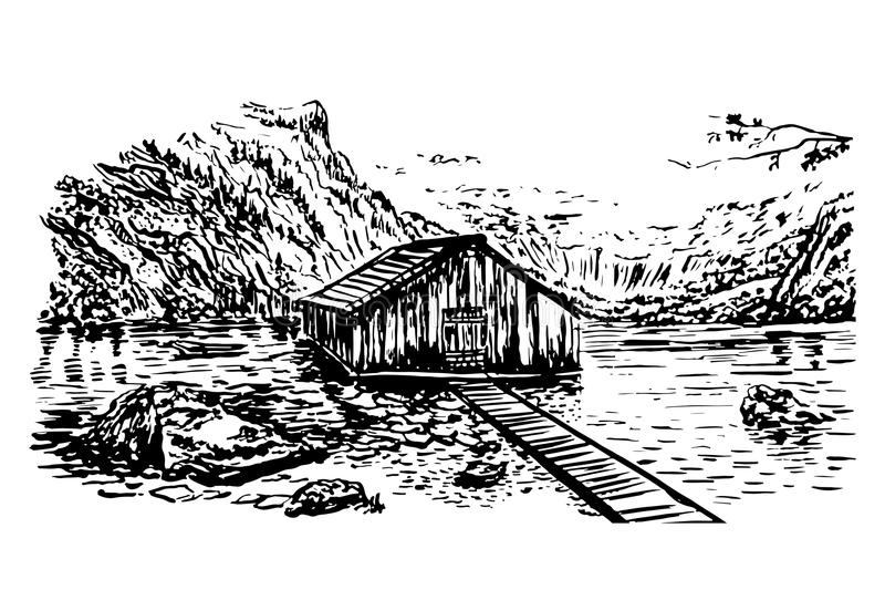 Drawing view of lake Obersee hand drawn illustration royalty free illustration
