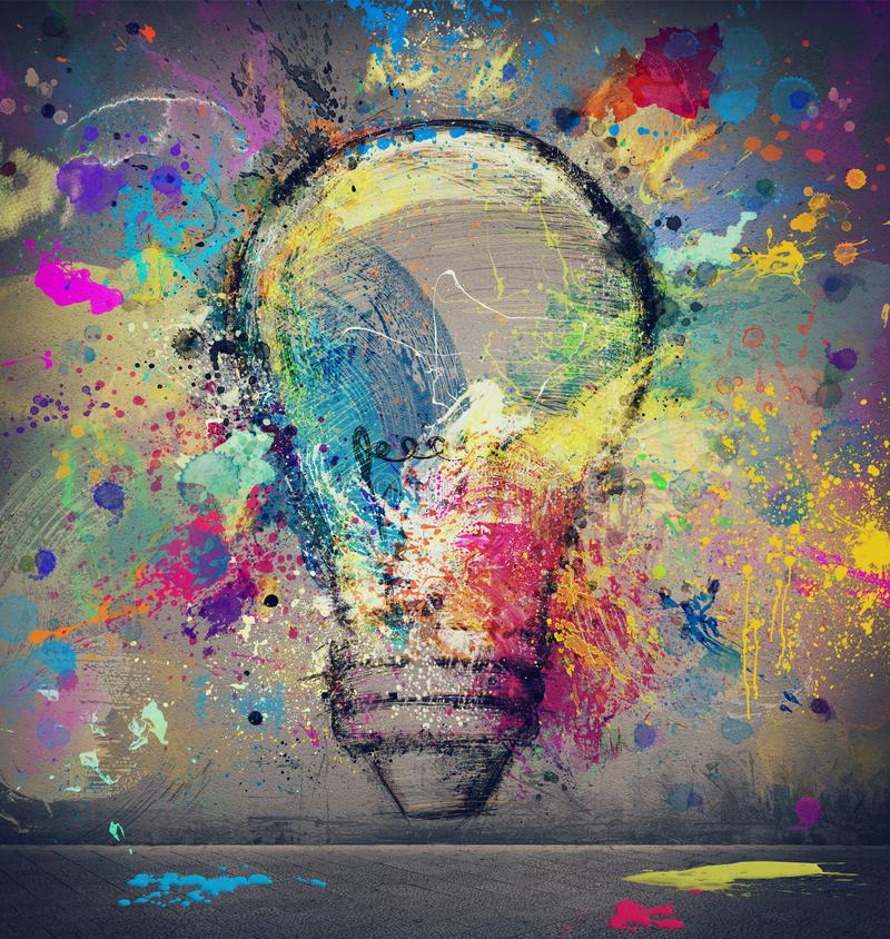 Drawing on a wall of a big light bulb. Concept of innovation and creativity. Drawing on a wall of an abstract big light bulb. Concept of innovation and vector illustration