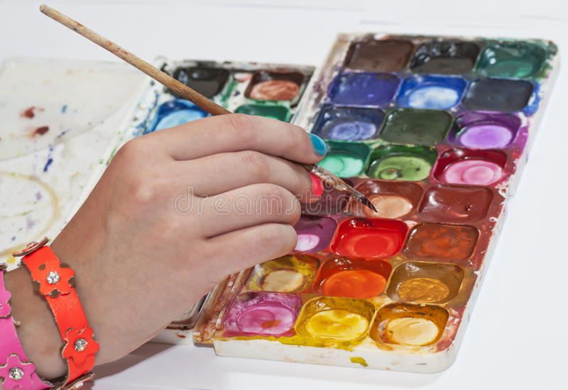 Drawing by water color paints stock photos
