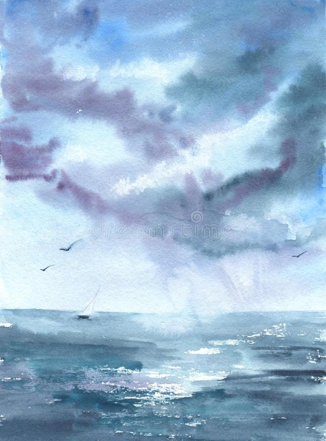 Drawing watercolor with the image of the sea, ship, clouds, birds. For design of backgrounds, cards, prints, covers, packages, vector illustration