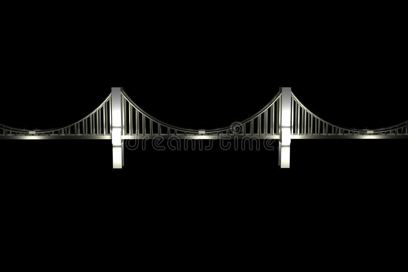 Drawing of a white chained bridge at night