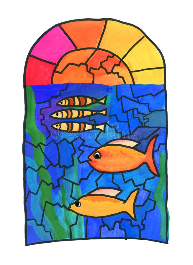 Drawing on the window. Stained glass with fish. Graphic work, stylization for children`s drawing. Gouache on paper. royalty free illustration