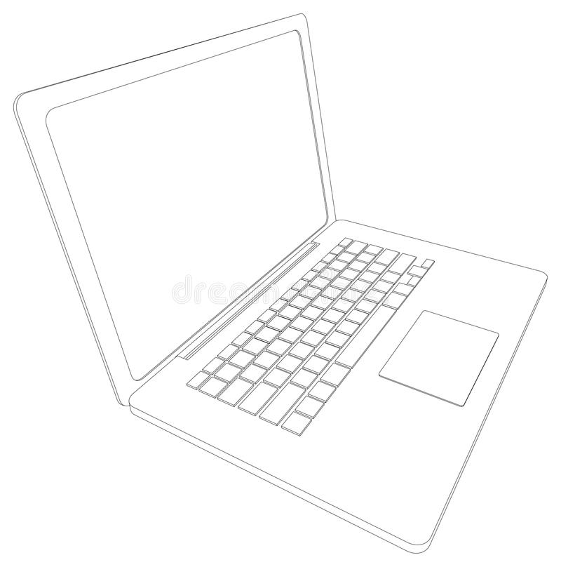 Drawing Of Wire-frame Open Laptop. Perspective Stock Vector ...