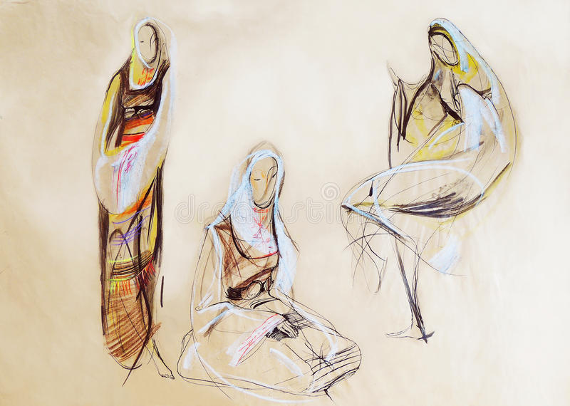 Drawing of women in Balkan clothes royalty free stock photos