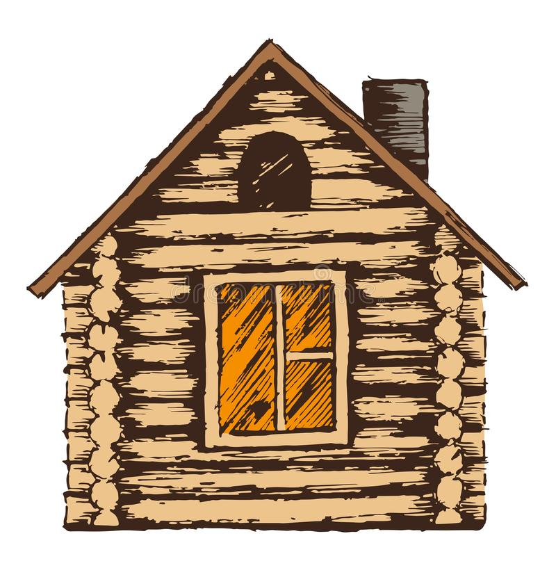 Attractive Download Drawing Of Wooden House. Stock Illustration. Illustration Of  Illustration   68891067