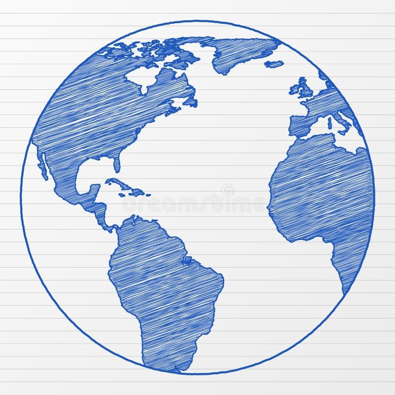 Drawing world globe 5 royalty free illustration