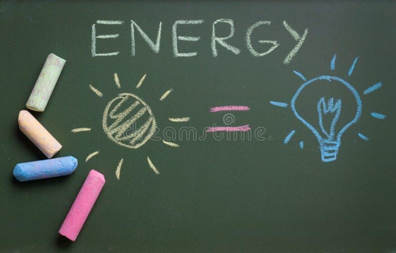 Energy writing on blackboard green pink yellow chalk sun equal to bulb stock photography