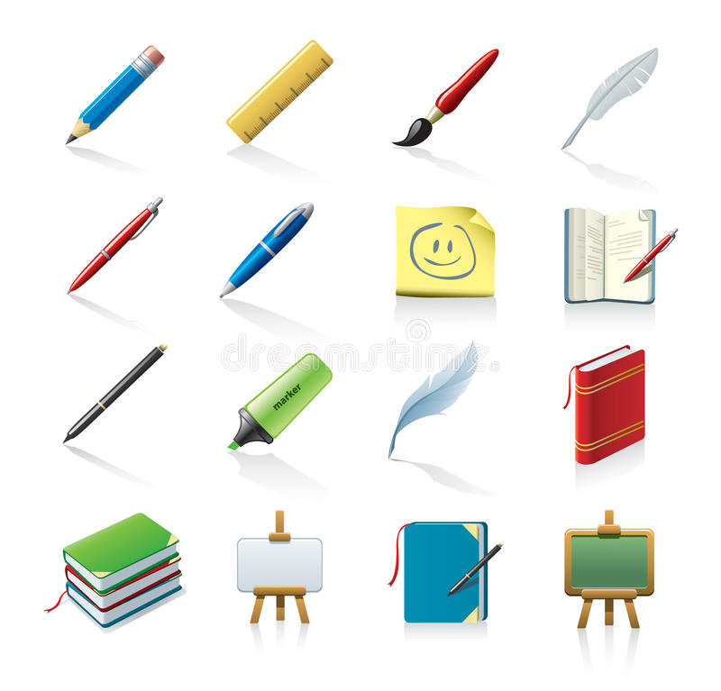 drawing and writing icons royalty free illustration