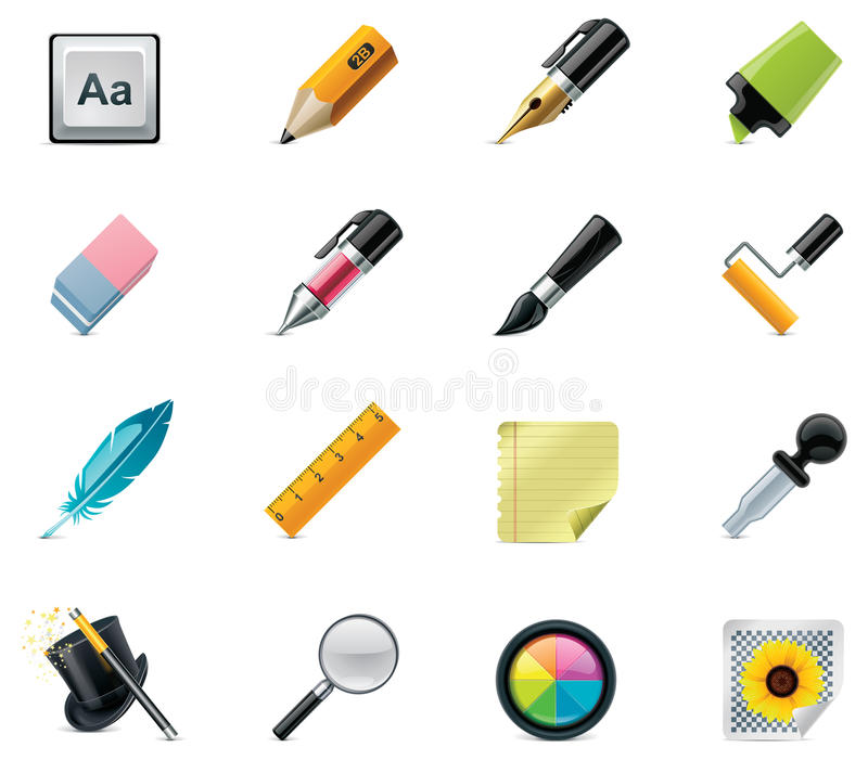 Drawing and Writing tools icon set royalty free stock photo