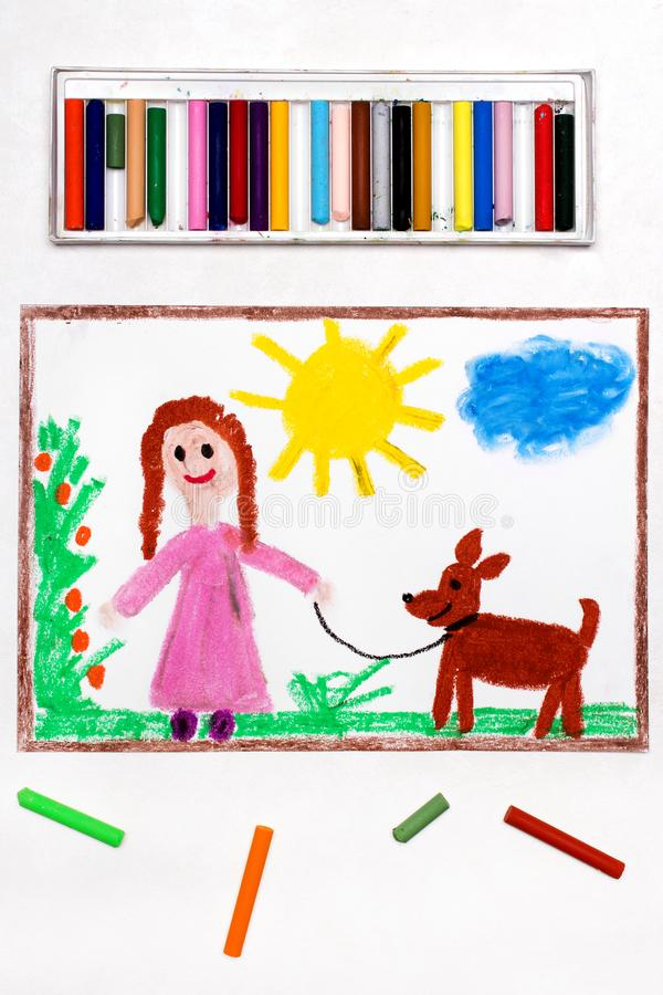 Drawing: Young girl in pink dress walking dog royalty free stock images
