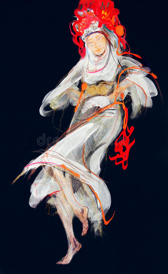 Drawing of young woman in traditional Bulgarian clothes stock photography