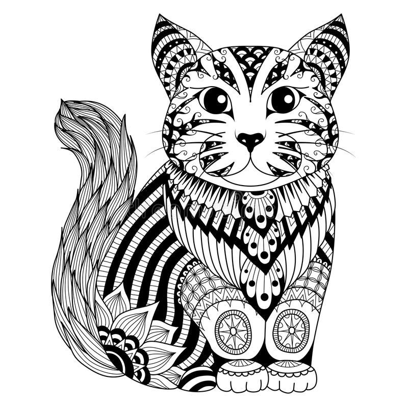 Drawing zentangle cat for coloring page, shirt design effect, logo, tattoo and decoration. stock illustration