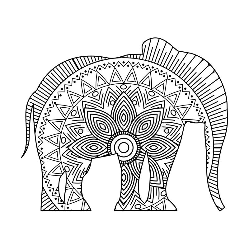 Drawing Zentangle For Elephant Adult Coloring Page Stock Vector ...