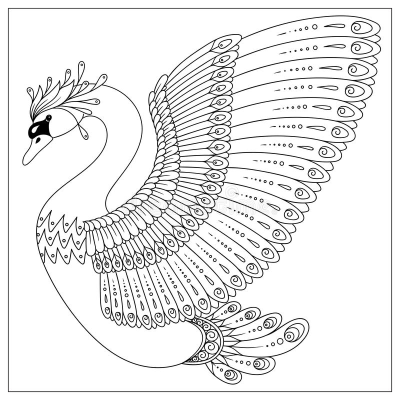 Drawing zentangle swan for coloring page royalty free illustration