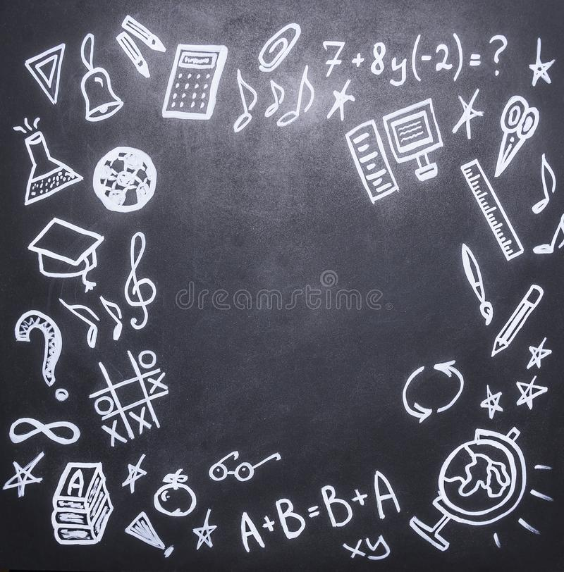 Drawings on the chalkboard on the new academic year, fall, school supplies ,place text,frame stock photography