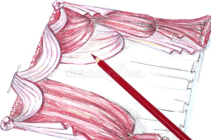 Drawings of drapery stock image