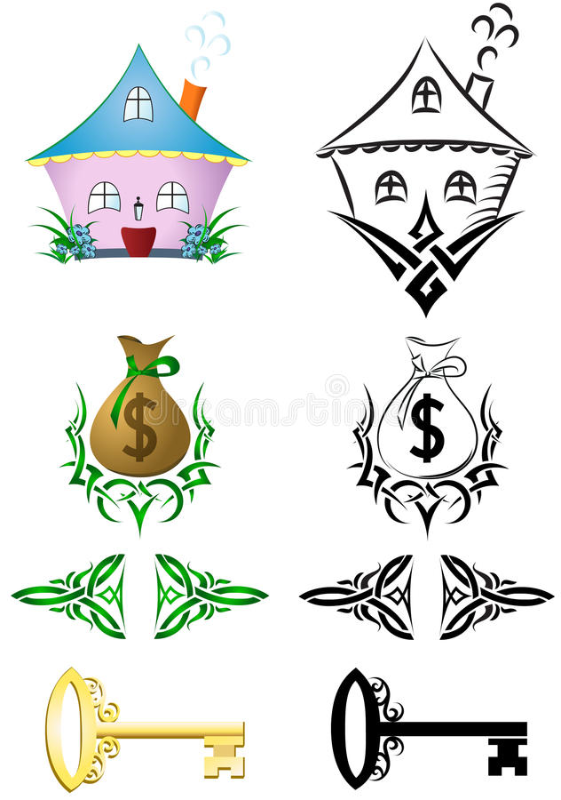 Drawings house, bag money, key, arrows. royalty free illustration