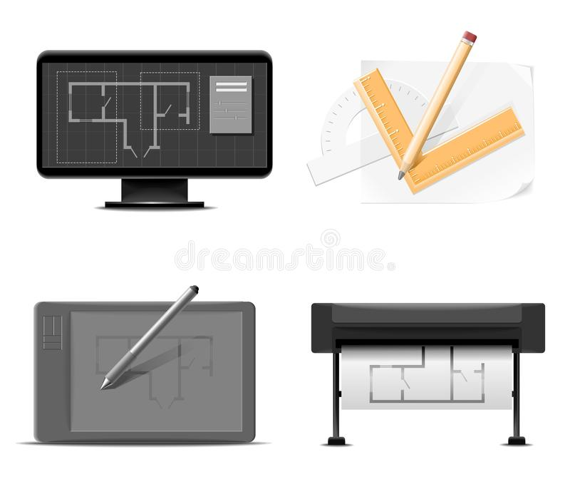 Drawings Instruments Vector Icon Set Stock Images