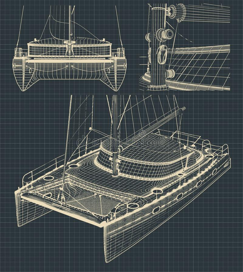 Drawings of a modern catamaran stock illustration