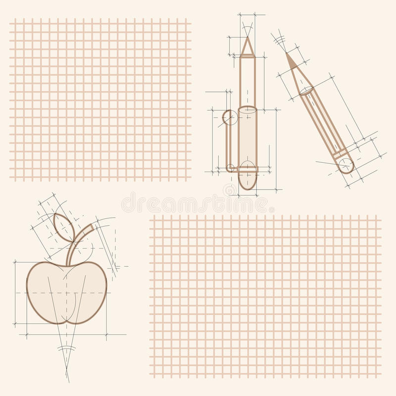 Free Drawings On Notebook Sheet Royalty Free Stock Photos - 10395888