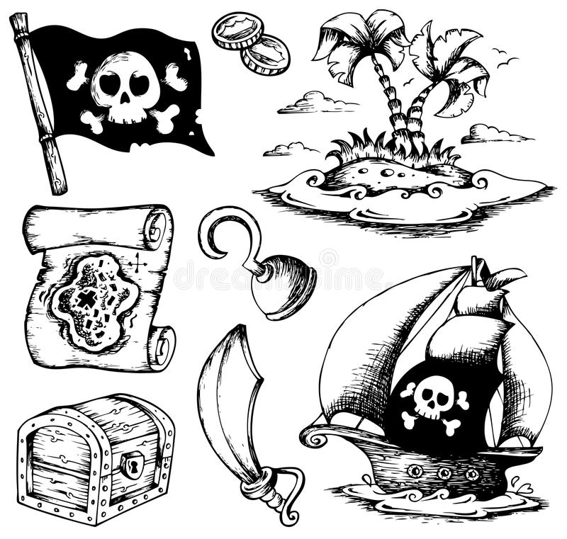 Drawings with pirate theme 1 royalty free illustration